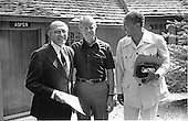 Prime Minister Menachem Begin of Israel, left, United States President Jimmy Carter, center, and President Anwar Sadat of Egypt pose for a group photo in front of Aspen Lodge at Camp David, near Thurmont, Maryland on September 12, 1978. The two Middle Eastern leaders, with Carter as peace negotiator, met for talks at Camp David, Maryland, about a new agreement between the Israelis and the Egyptians.Credit: White House via CNP