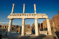 Doric & Corinthian columns of the Roman colonade in the Forum of Pompeii.