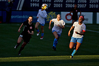 Portland, OR - Sunday March 11, 2018: Sam Johnson, Bobbi Eckler during a National Women's Soccer League (NWSL) pre season match between the Portland Thorns FC and the Chicago Red Stars at Merlo Field.