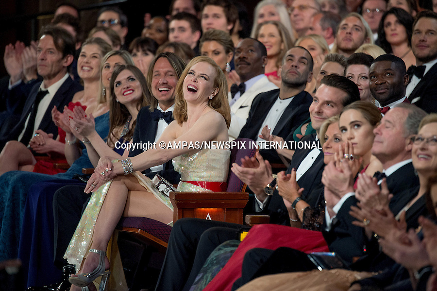 22.02.2015; Hollywood, California: 87TH OSCARS - NICOLE KIDMAN, SUKI WATERHOUSE AND BRADLEY COOPER<br /> <br /> watch the Annual Academy Awards Telecast, Dolby Theatre, Hollywood.<br /> Mandatory Photo Credit: NEWSPIX INTERNATIONAL<br /> <br />               **ALL FEES PAYABLE TO: &quot;NEWSPIX INTERNATIONAL&quot;**<br /> <br /> PHOTO CREDIT MANDATORY!!: NEWSPIX INTERNATIONAL(Failure to credit will incur a surcharge of 100% of reproduction fees)<br /> <br /> IMMEDIATE CONFIRMATION OF USAGE REQUIRED:<br /> Newspix International, 31 Chinnery Hill, Bishop's Stortford, ENGLAND CM23 3PS<br /> Tel:+441279 324672  ; Fax: +441279656877<br /> Mobile:  0777568 1153<br /> e-mail: info@newspixinternational.co.uk