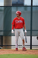 Philadelphia Phillies Jack Zoellner (28) at bat during an Instructional League game against the Toronto Blue Jays on September 30, 2017 at the Carpenter Complex in Clearwater, Florida.  (Mike Janes/Four Seam Images)