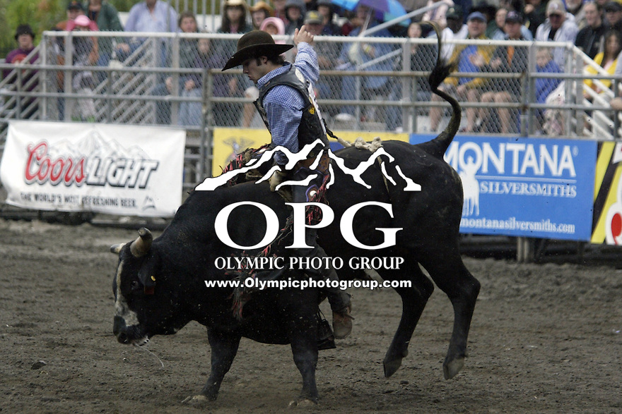 24 August 2008:  Clayton Savage from Cheyenne, Wyoming riding the bull Real Western was not able to score in the first round of the Dodge Extreme Bulls in Bremerton, Washington.
