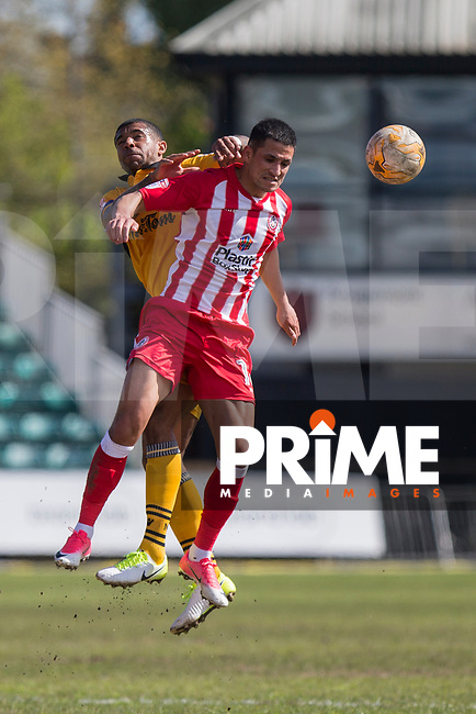 Joss Labadie of Newport County battles with Noor Husin of Accrington Stanley during the Sky Bet League 2 match between Newport County and Accrington Stanley at Rodney Parade, Newport, Wales on 22 April 2017. Photo by Mark  Hawkins.
