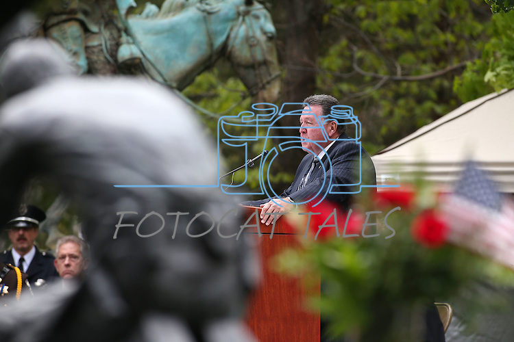 Memorial Commissioner Frank Adams speaks at the annual Nevada Law Enforcement Officers Memorial Ceremony on the Capitol Mall in Carson City, Nev., on Thursday, May 7, 2015.<br /> Photo by Cathleen Allison
