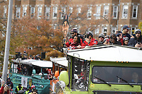 October 31, 2018: Boston Red Sox starting pitcher David Price (24) records fans from the top of a duck boat during the Boston Red Sox 2018 World Series championship celebration parade held in Boston, Mass.  Eric Canha/CSM