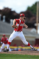 Batavia Muckdogs pitcher Michael Mader (21) delivers a pitch during a game against the Mahoning Valley Scrappers on August 24, 2014 at Dwyer Stadium in Batavia, New York.  Mahoning Valley defeated Batavia 7-6.  (Mike Janes/Four Seam Images)