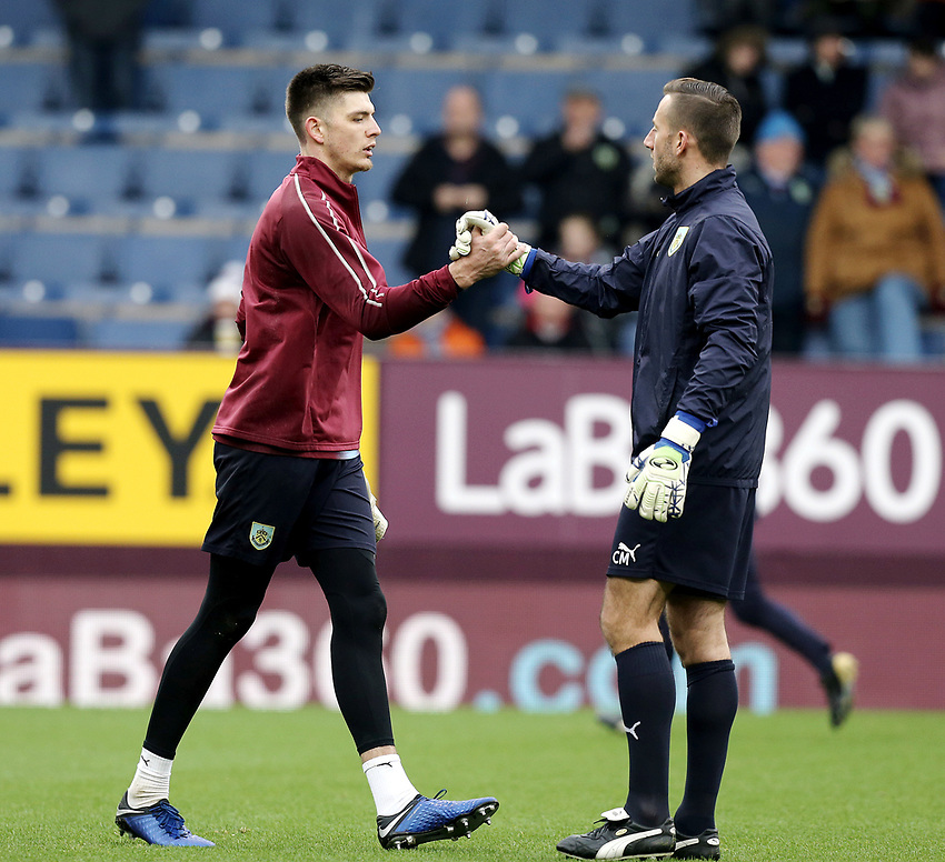 Burnley's Nick Pope during the pre-match warm-up <br /> <br /> Photographer Rich Linley/CameraSport<br /> <br /> Emirates FA Cup Third Round - Burnley v Barnsley - Saturday 5th January 2019 - Turf Moor - Burnley<br />  <br /> World Copyright © 2019 CameraSport. All rights reserved. 43 Linden Ave. Countesthorpe. Leicester. England. LE8 5PG - Tel: +44 (0) 116 277 4147 - admin@camerasport.com - www.camerasport.com