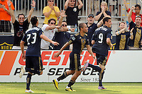 Sebastien Le Toux (9) of the Philadelphia Union celebrates scoring the game winning goal in ona penaltykick in second half stoppage time. The Philadelphia Union defeated Toronto FC 2-1 on a second half stoppage time goal during a Major League Soccer (MLS) match at PPL Park in Chester, PA, on July 17, 2010.