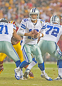 Dallas Cowboys quarterback Matt Cassel (16) looks to hand-off the ball in first quarter action against the Washington Redskins at FedEx Field in Landover, Maryland on Monday, December 7, 2015.<br /> Credit: Ron Sachs / CNP