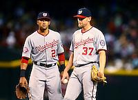 May 12, 2015; Phoenix, AZ, USA; Washington Nationals pitcher Stephen Strasburg (right) and shortstop Ian Desmond against the Arizona Diamondbacks at Chase Field. Mandatory Credit: Mark J. Rebilas-USA TODAY Sports