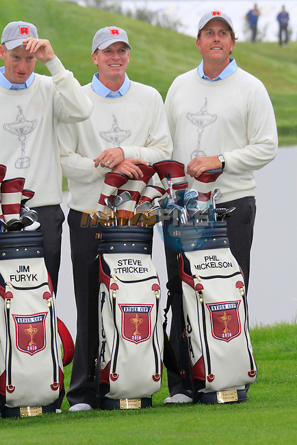 Jim Furyk, Steve Stricker and Phil Mickelson at the USA Team presentation for the 2010 Ryder Cup at the Celtic Manor Twenty Ten Course, Newport, Wales, 28th September 2010..(Picture Eoin Clarke/www.golffile.ie)