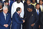 Egypt's President Abdel-Fattah el-Sisi talks to Chad's President Idriss Deby at the 30th Ordinary Session of the Assembly of the Heads of State and the Government of the African Union in Addis Ababa, Ethiopia January 28, 2018. Photo by Egyptian President Office