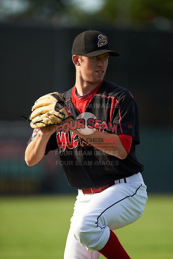 Batavia Muckdogs pitcher Travis Neubeck (13) poses for a photo before a game against the Auburn Doubledays July 10, 2015 at Dwyer Stadium in Batavia, New York.  Auburn defeated Batavia 13-1.  (Mike Janes/Four Seam Images)
