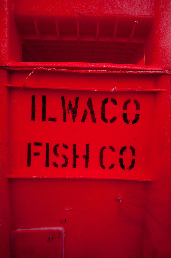 Crate at Jessie's Ilwaco Fish Co., Ilwaco, Washington, US