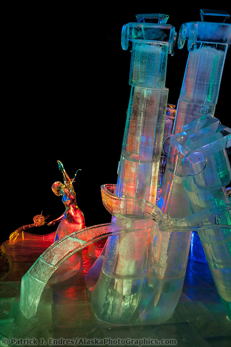 """Pandoras Box"" 1st place abstract category of the 2009 World Ice Art Championships in Fairbanks, Alaska. Sculpted by Vladimir Zhikhartsev, Vitaly Lednev, Aaron Costic, Joshua Kang"