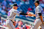 14 April 2018: Colorado Rockies Manager Bud Black takes the ball from pitcher Antonio Senzatela in the 7th inning against the Washington Nationals at Nationals Park in Washington, DC. The Nationals rallied to defeat the Rockies 6-2 in the 3rd game of their 4-game series. Mandatory Credit: Ed Wolfstein Photo *** RAW (NEF) Image File Available ***