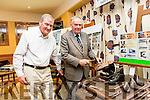 """ Shame About Hob Nail Boots "". John Quinlan Curator of the North Kerry Museum brought Hob Nail Boots to the Pattern ""Thrasher"" Festival Homecoming  in the at the White Sands Hotel Ballyheigue on Tuesday at  the exhibit were l-r  Brian McMahon and John Quinlan."