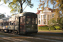 The St. Charles Streetcar line rolls pass New Orleans' finest mansions, Friday, March 26, 2005.<br />