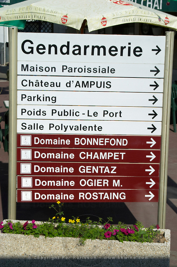 street sign ampuis rhone france