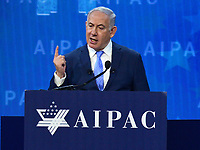 Washington, DC - March 6, 2018: Israeli Prime Minister Benjamin Netanyahu addresses attendees of the 2018 American Israel Public Affairs Committee (AIPAC) Policy Conference at the Washington Convention Center March 6, 2018.  (Photo by Don Baxter/Media Images International)