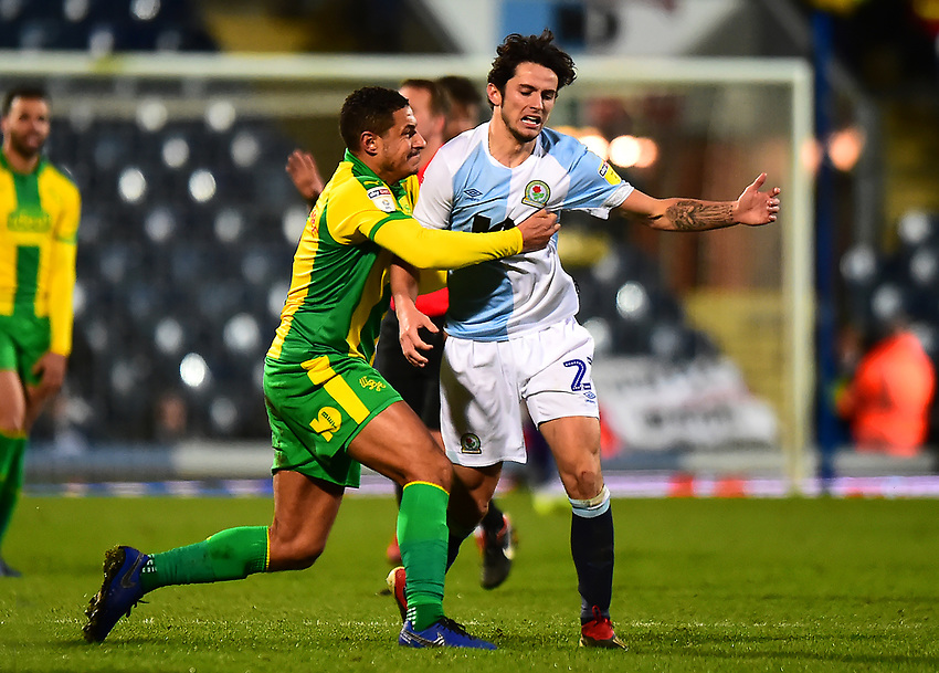 Blackburn Rovers' Lewis Travis is wrestled to the ground by West Bromwich Albion's Jake Livermore who was subsequently red carded<br /> <br /> Photographer Richard Martin-Roberts/CameraSport<br /> <br /> The EFL Sky Bet Championship - Blackburn Rovers v West Bromwich Albion - Tuesday 1st January 2019 - Ewood Park - Blackburn<br /> <br /> World Copyright © 2019 CameraSport. All rights reserved. 43 Linden Ave. Countesthorpe. Leicester. England. LE8 5PG - Tel: +44 (0) 116 277 4147 - admin@camerasport.com - www.camerasport.com