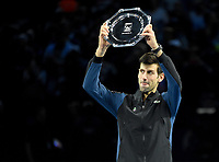Novak Djokovic receiving his trophy for coming in second at the ATP Tennis world tour finals <br /> <br /> Photographer Hannah Fountain/CameraSport<br /> <br /> International Tennis - Nitto ATP World Tour Finals Day 7 - O2 Arena - London - Saturday 17th November 2018<br /> <br /> World Copyright &copy; 2018 CameraSport. All rights reserved. 43 Linden Ave. Countesthorpe. Leicester. England. LE8 5PG - Tel: +44 (0) 116 277 4147 - admin@camerasport.com - www.camerasport.com