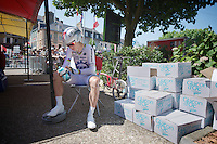 Tony Martin (DEU) found a little spot in the shade a few minutes before his start to concentrate on his ITT<br /> <br /> Tour de France 2013<br /> stage 11: iTT Avranches - Mont Saint-Michel <br /> 33km