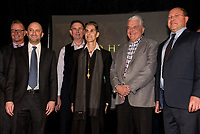 LAS VEGAS, NV - March 13, 2018: ***HOUSE COVERAGE***  Jason Gatswirth, Sean Swanger, , Perry Farrell, Steve Sisolak, Serik Kushenov, Peter Katsis, Lindsay Fellows, Cory Granat pictured as Lollapalooza Creator Perry Farrell, Cary Granat and Ed Jones of Immersive Artistry and Caesars Entertainment join forces for Kind Heaven and Unveil plans to the media at The Line Vortex in Las Vegas on March 13, 2018. . Credit: GDP Photos/ MediaPunch