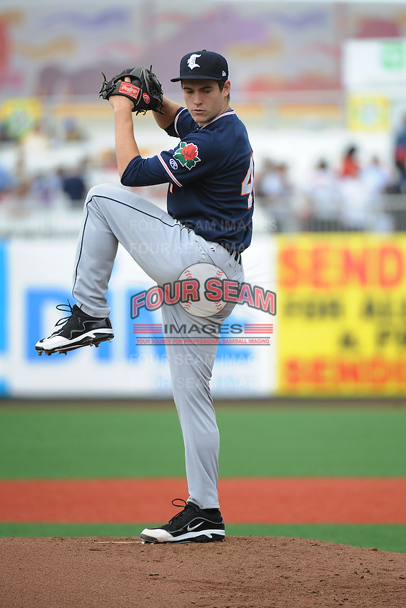 Connecticut Tigers pitcher Chase Edwards (40)  during game against the Brooklyn Cyclones  at MCU Park on August 7, 2013 in Brooklyn, NY.  Brooklyn defeated Connecticut 4-3.  (Tomasso DeRosa/Four Seam Images)