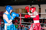 Cashen Vale Boxing Tournament: Paul Brown,in red, Sliabh Luachra Boxing Club in action against Brian Donovan, Charlivele  at the Cashen Vale Boxing tournament at Tomasin's Bar, Liselton on Saturday night last.