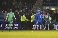 Tom Eaves of Gillingham celebrates with team mates after he scores his team's second goal of the game to make the score 2-1 during the Sky Bet League 1 match between Gillingham and Fleetwood Town at the MEMS Priestfield Stadium, Gillingham, England on 27 January 2018. Photo by David Horn.