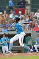 Myrtle Beach Pelicans shortstop Aramis Ademan (11) at bat during a game against the Winston Salem Dash at Ticketreturn.com Field at Pelicans Ballpark on July 22, 2018 in Myrtle Beach, South Carolina. Winston-Salem defeated Myrtle Beach 7-2. (Robert Gurganus/Four Seam Images)
