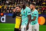 05.11.2019, Signal Iduna Park, Dortmund , GER, Champions League, Gruppenphase, Borussia Dortmund vs Inter Mailand, UEFA REGULATIONS PROHIBIT ANY USE OF PHOTOGRAPHS AS IMAGE SEQUENCES AND/OR QUASI-VIDEO<br /> <br /> im Bild | picture shows:<br /> Mario Goetze (Borussia Dortmund #10) mit Romelu Lukaku (Inter #9) und Cristiano Biraghi (Inter #34), <br /> <br /> Foto © nordphoto / Rauch