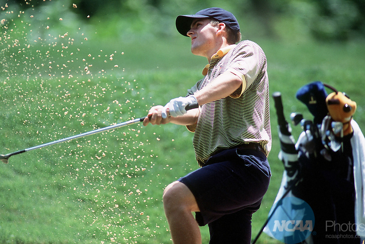 02 JUNE 2001:  Kris Mikkelsen of Georgia Tech University chips out of the sand during the Men's Division 1 Golf Championship held at the Duke University Golf Club on the campus of Duke University in Durham, NC.  Mikkelsen tied for fourth in the individual competition shooting 7 under par, while the University of Florida won the team title shooting 26 under par.   Jamie Schwaberow/NCAA Photos