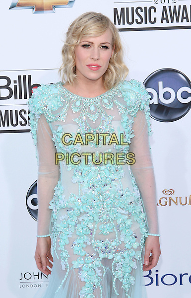 Natasha Bedingfield.Arriving at the 2012 Billboard Music Awards at MGM Grand in Las Vegas, Nevada, USA..May 20th, 2012.half length blue lace tulle dress beads beaded.CAP/ROT/TM.©Tony Michaels/Roth Stock/Capital Pictures
