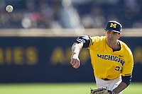 Michigan Wolverines pitcher Jack Bredeson (34) delivers a pitch to the plate against the Illinois Fighting Illini during the NCAA baseball game on April 8, 2017 at Ray Fisher Stadium in Ann Arbor, Michigan. Michigan defeated Illinois 7-0. (Andrew Woolley/Four Seam Images)