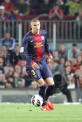 05.05.2013 Barcelona, Spain. Pique during the Spanish La Liga game between Barcelona and Real Betis from Nou Camp.