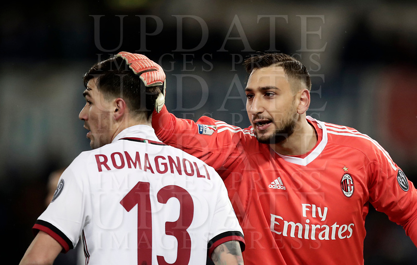 Football Soccer: Tim Cup semi-final second Leg, SS Lazio vs AC Milan, Stadio Olimpico, Rome, Italy, February 28, 2018.<br /> Milan's goaldkeeper Gianluigi Donnarumma (r) speaks with his teammate Alessio Romagnoli (l) during the Tim Cup semi-final football match between SS Lazio vs AC Milan, at Rome's Olympic stadium, February 28, 2018.<br /> <br /> UPDATE IMAGES PRESS/Isabella Bonotto