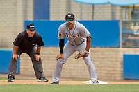 Cal Poly San Luis Obispo Mustangs Elijah Skipps (24) in action against the UC-Riverside Highlanders at Riverside Sports Complex on May 26, 2018 in Riverside, California. The Cal Poly SLO Mustangs defeated the UC Riverside Highlanders 6-5. (Donn Parris/Four Seam Images)