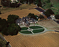 aerial view above Ledson winery vineyards Kenwood Sonoma county California