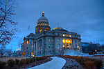 Idaho, Southwest,  Boise. The newly renovated Idaho State Capital building as seen in February 2010 at dusk. HDR.