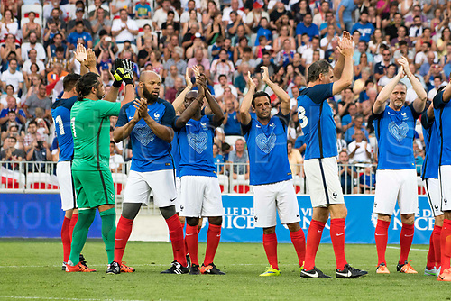 June 17th 2017; Allianz Riviera, Nice, France; Legends football international, France versus Italy;   France team applaud the fans