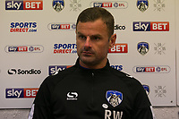Oldham Athletic's manager Richie Wellens talks to the press after the Sky Bet League 1 match between Oldham Athletic and Rochdale at Boundary Park, Oldham, England on 18 November 2017. Photo by Juel Miah/PRiME Media Images