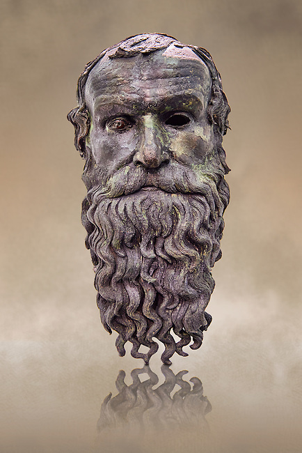 The Riace bronze Greek statue head cast about 460 BC. Museo Nazionale della Magna Grecia,  Reggio Calabria, Italy.