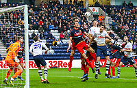 Preston North End's Paul Huntington and Jordan Storey compete in the air<br /> <br /> Photographer Alex Dodd/CameraSport<br /> <br /> The Emirates FA Cup Third Round - Preston North End v Doncaster Rovers - Sunday 6th January 2019 - Deepdale Stadium - Preston<br />  <br /> World Copyright &copy; 2019 CameraSport. All rights reserved. 43 Linden Ave. Countesthorpe. Leicester. England. LE8 5PG - Tel: +44 (0) 116 277 4147 - admin@camerasport.com - www.camerasport.com