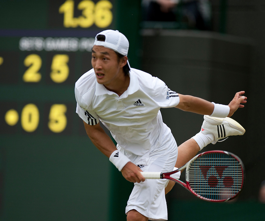 Go Soeda (JPN) in action during his Gentlemen's Singles Second Round match against Richard Gasquet (FRA) [9] today<br /> <br />  (Photo by Stephen White/CameraSport) <br /> <br /> Tennis - Wimbledon Lawn Tennis Championships - Day 4 Thursday 27th June 2013 -  All England Lawn Tennis and Croquet Club - Wimbledon - London - England<br /> <br /> &copy; CameraSport - 43 Linden Ave. Countesthorpe. Leicester. England. LE8 5PG - Tel: +44 (0) 116 277 4147 - admin@camerasport.com - www.camerasport.com.