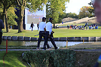 Tiger Woods and Bryson Dechambeau (Team USA) walk to the 13th green during Saturday's Foursomes Matches at the 2018 Ryder Cup 2018, Le Golf National, Ile-de-France, France. 29/09/2018.<br /> Picture Eoin Clarke / Golffile.ie<br /> <br /> All photo usage must carry mandatory copyright credit (&copy; Golffile | Eoin Clarke)