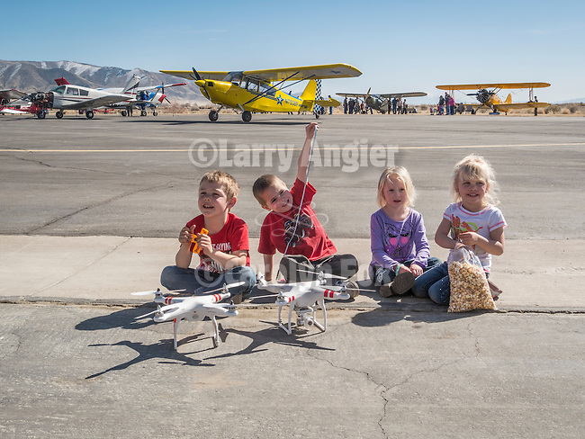 Children with DJI quadcopters, Open House at the WInnemucca Municipal Airport on Sunday at Shooting the West XXVII, Winnemucca, Nev.