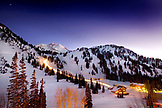 USA, Utah, Alta Ski Resort and mounatin at night