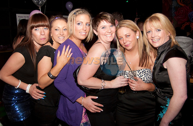 Tish Smith, Aine Hickey, Lisa McLaughlin, Lorraine McDonnell and Grainne Kearns at Vanessa McCowen's 21st birthday party in Fusion on Friday night.